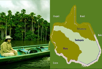 Tambopata location map and descripcion